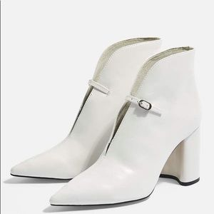 Top shop halo white leather ankle boots